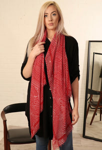 Red and White Spot Scarf