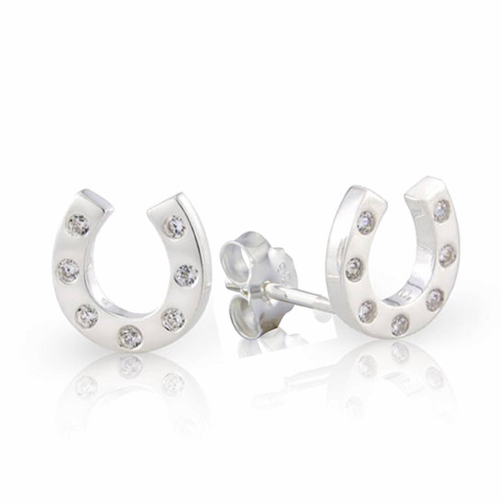 Silver horseshoe stud earrings - La Di Da Interiors