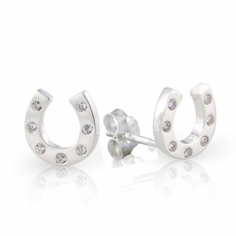 Silver horseshoe stud earrings