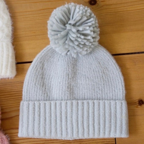 Grey knitted bobble hat - La Di Da Interiors
