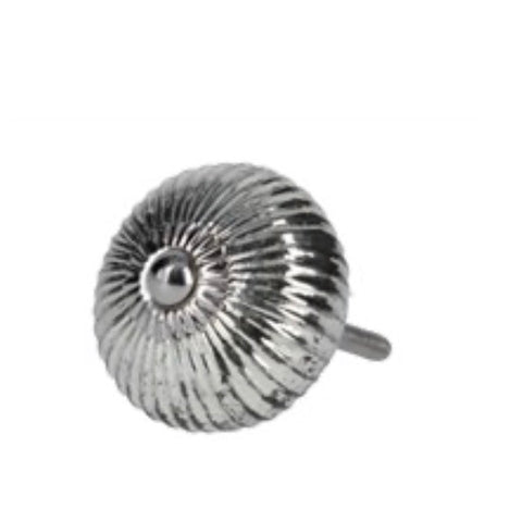 Silver ribbed glass round knob