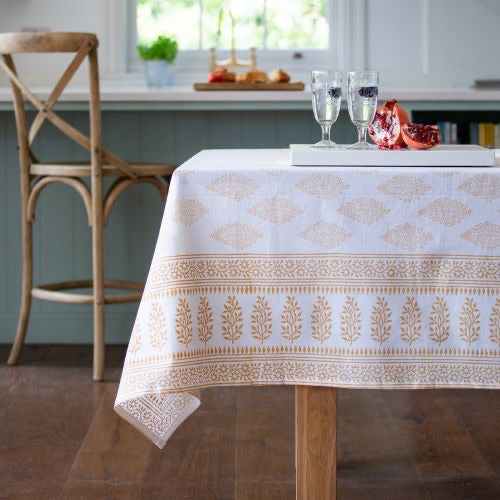 hand block white gold table cloth