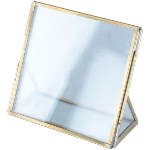 Glass and brass square photo frame