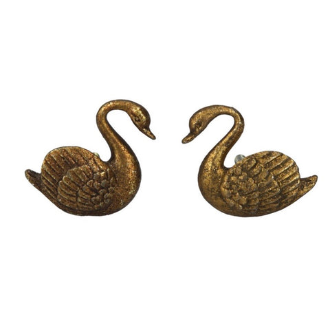 Antiqued Gold Metal Swan Drawer Knob