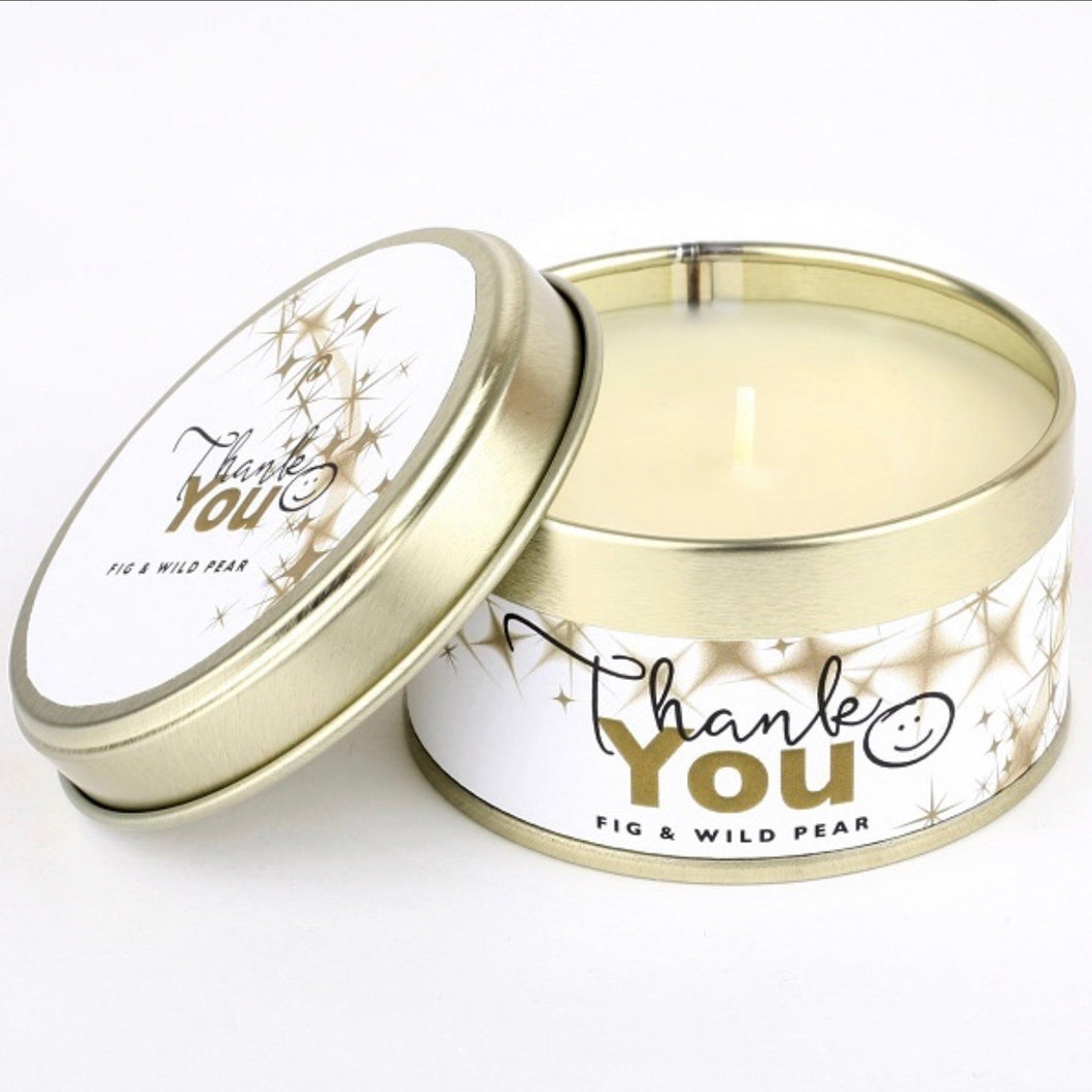 thank you candle gift tin