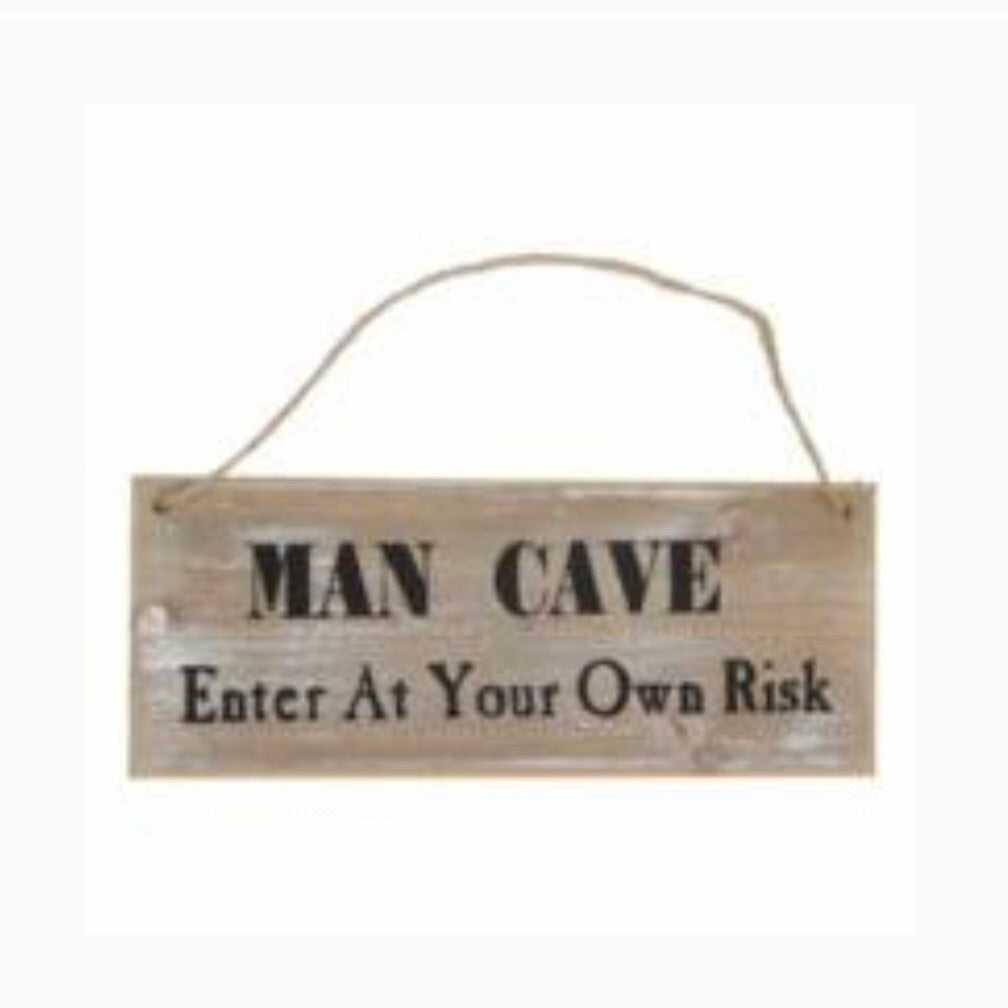 Man Cave Enter at Your Own Risk Sign - La Di Da Interiors