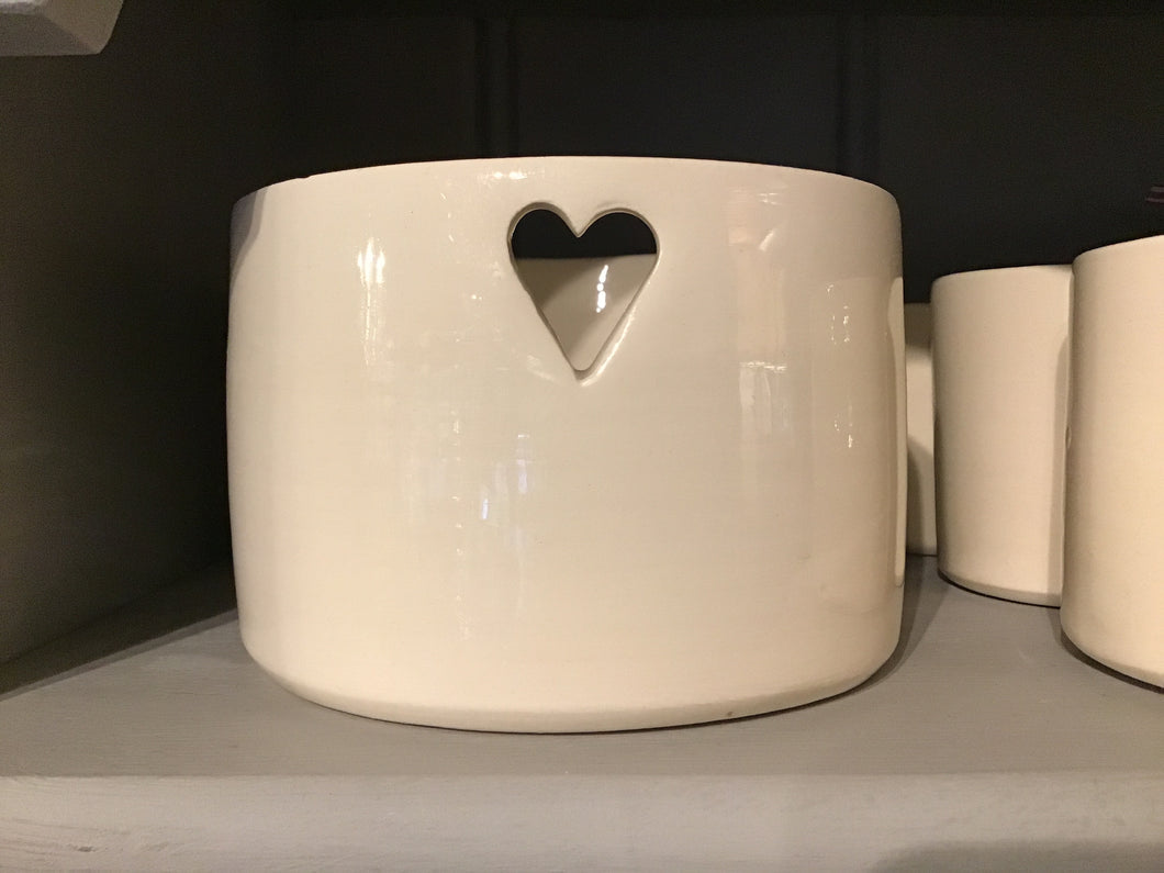 Large Handmade Heart Ceramic Tealight Holder - La Di Da Interiors