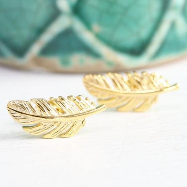 Gold Feather Stud Earrings - La Di Da Interiors