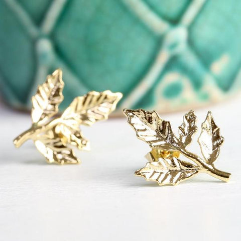 Gold Fern Leaf Stud Earrings