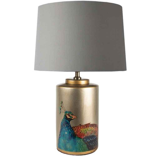 Peacock Jar Table Lamp with shade - La Di Da Interiors