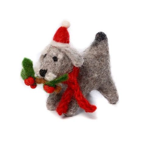 Schnauzer with Holly Sprig Christmas Tree Decoration