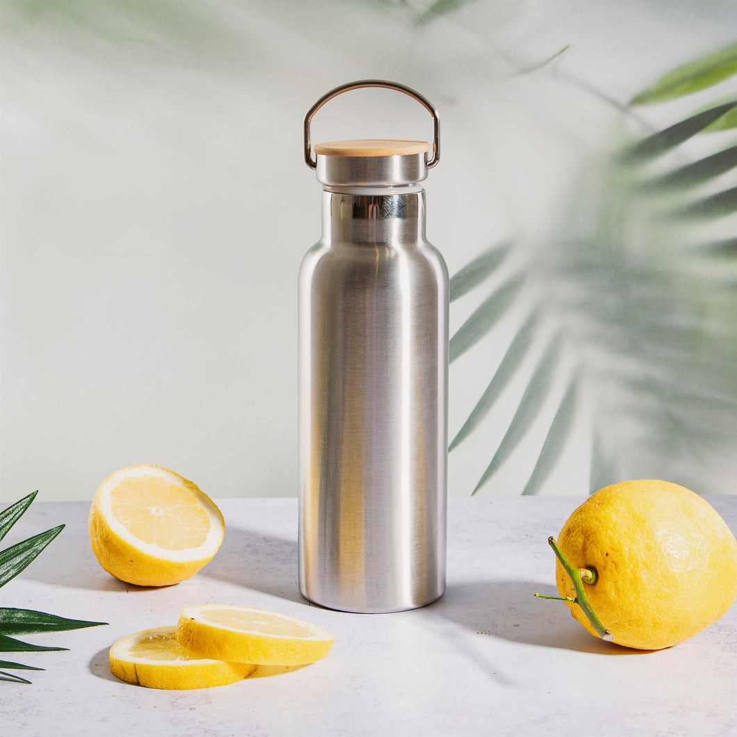 Stainless Steel Water Bottle with Bamboo Lid - La Di Da Interiors