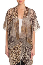 Load image into Gallery viewer, Mixed Media Leopard Print Kimono with Rhinestones - Just Jamie