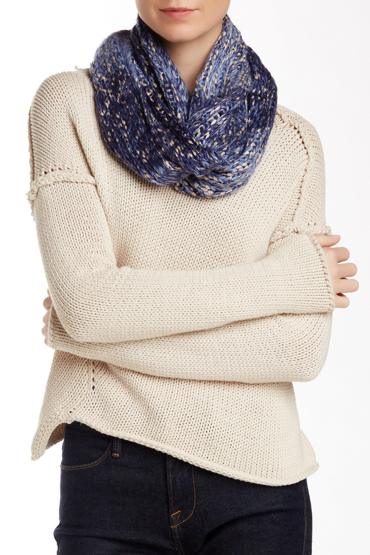 Solid Chunky Knit Metallic Eternity - Just Jamie