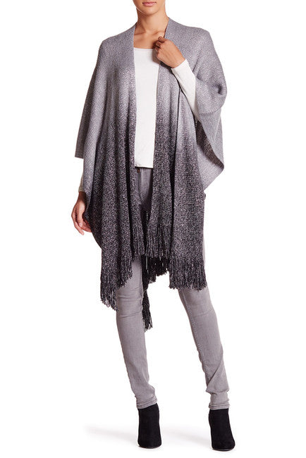 Cashmere Feel Ombre Ruana with Lurex - Just Jamie