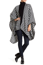 Load image into Gallery viewer, Houndstooth Ruana with Faux Leather Trim - Just Jamie