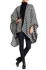 Houndstooth Ruana with Faux Leather Trim