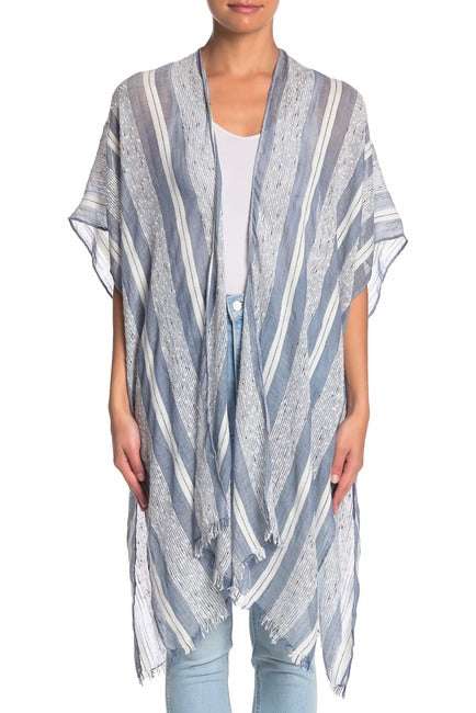 Striped Kimono with Frayed Edge - Just Jamie