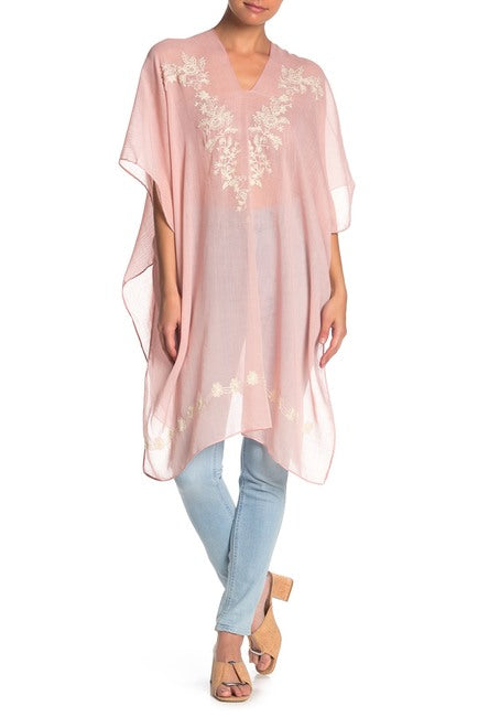 Solid Embroidered Floral Poncho - Just Jamie