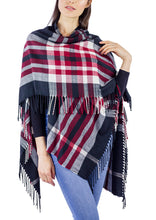 Load image into Gallery viewer, Plaid Supersoft Ruana with Side Fringe - Just Jamie