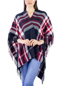Plaid Supersoft Ruana with Side Fringe - Just Jamie