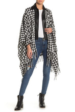 Load image into Gallery viewer, Super Soft Houndstooth Ruana with PU and Zipper - Just Jamie