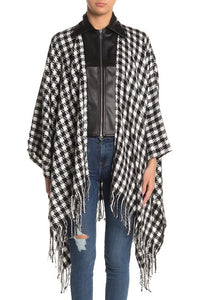 Super Soft Houndstooth Ruana with PU and Zipper - Just Jamie