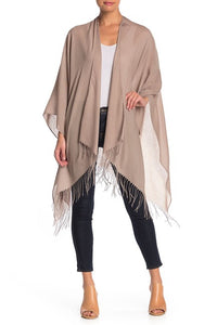 Solid Lightweight Ruana with Fringe - Just Jamie