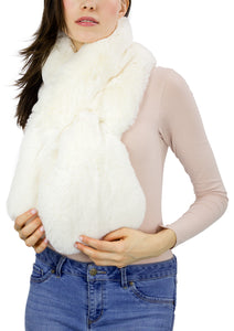 Faux Fur Mink Pull Through Plush Scarf