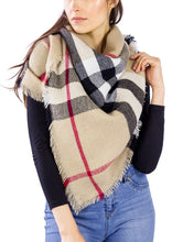 Load image into Gallery viewer, Plaid Blanket Wrap Scarf - Just Jamie