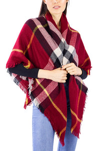 Plaid Blanket Wrap Scarf - Just Jamie