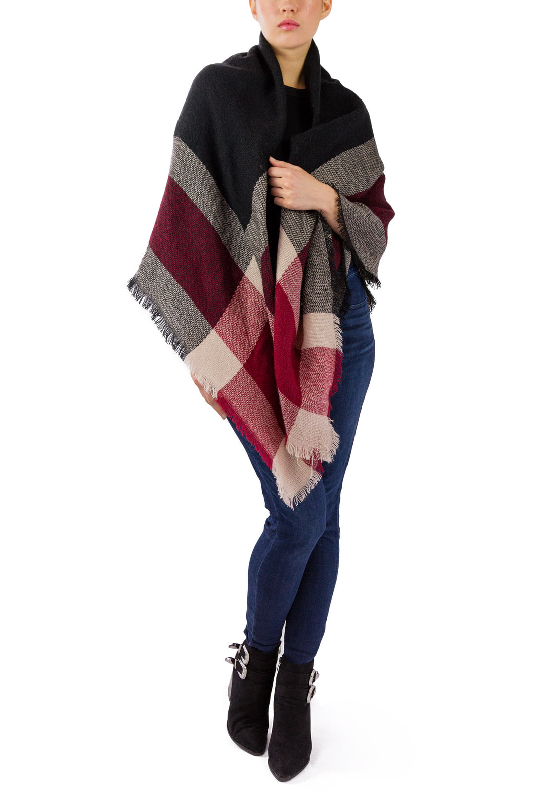 Plaid Blanket Wrap - Just Jamie
