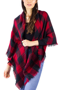 Buffalo Plaid Blanket Wrap Scarf - Just Jamie