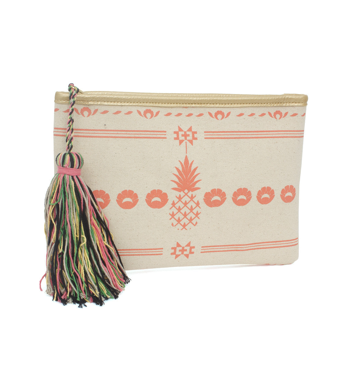 Pineapple Aztec Clutch with Tassel - Just Jamie