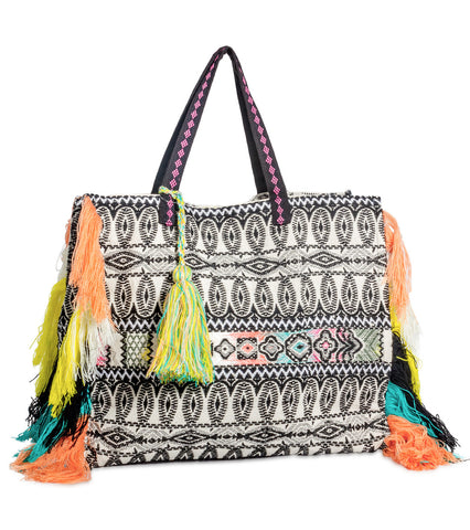 Embroidered Tote with Multi Color Tassels
