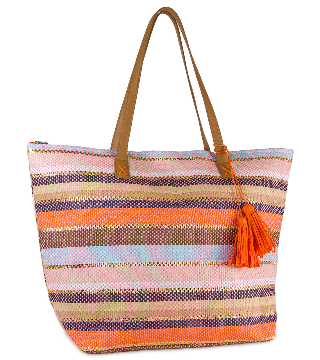 Two Tone Striped Tote - Just Jamie
