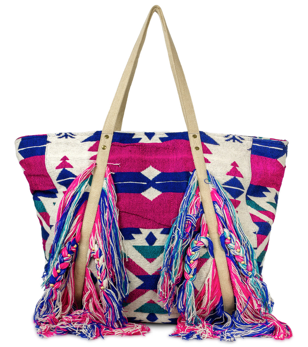Aztec Tote with Large Frayed Tassels - Just Jamie