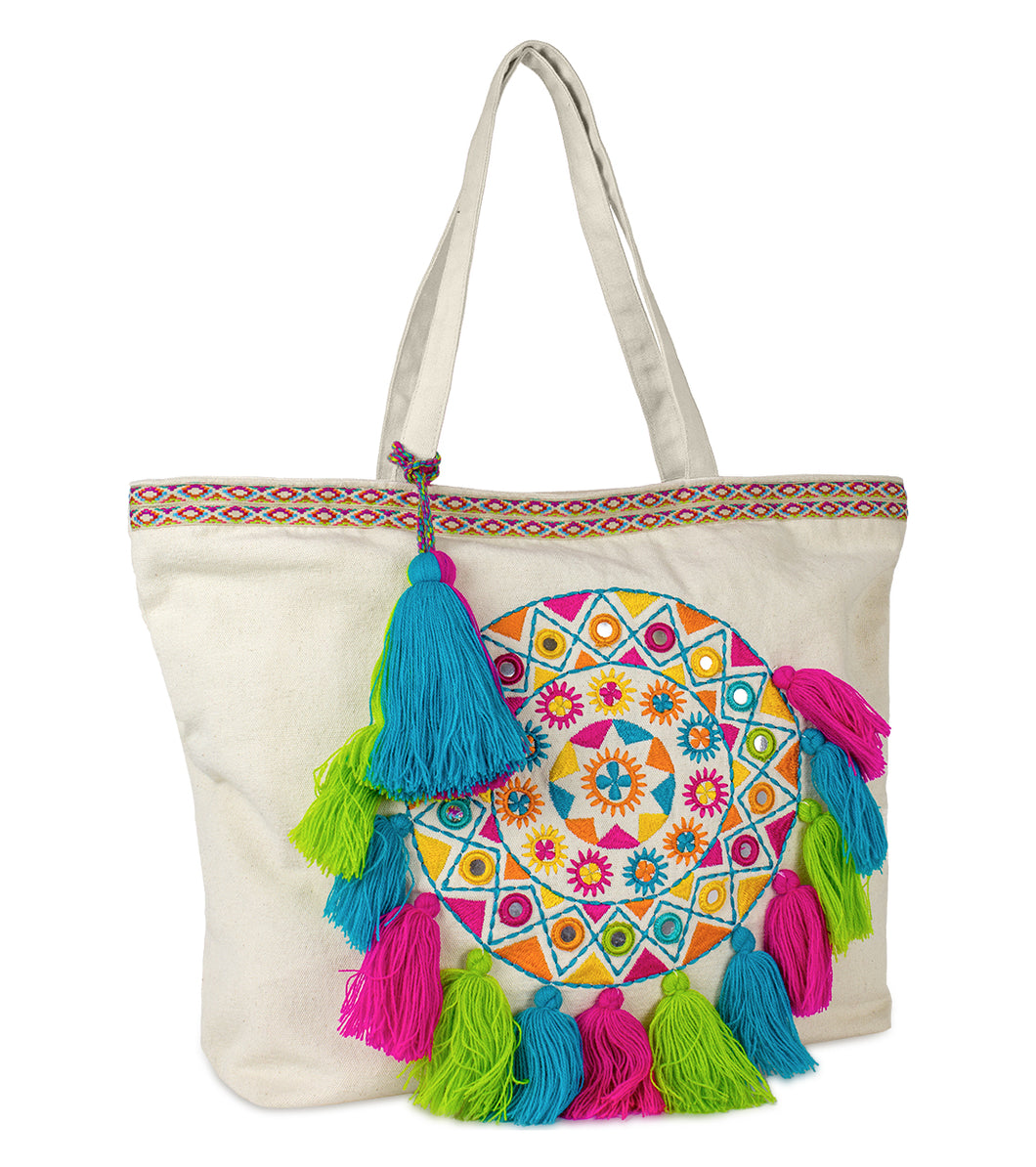 Circle Tote with Multicolor Tassels - Just Jamie