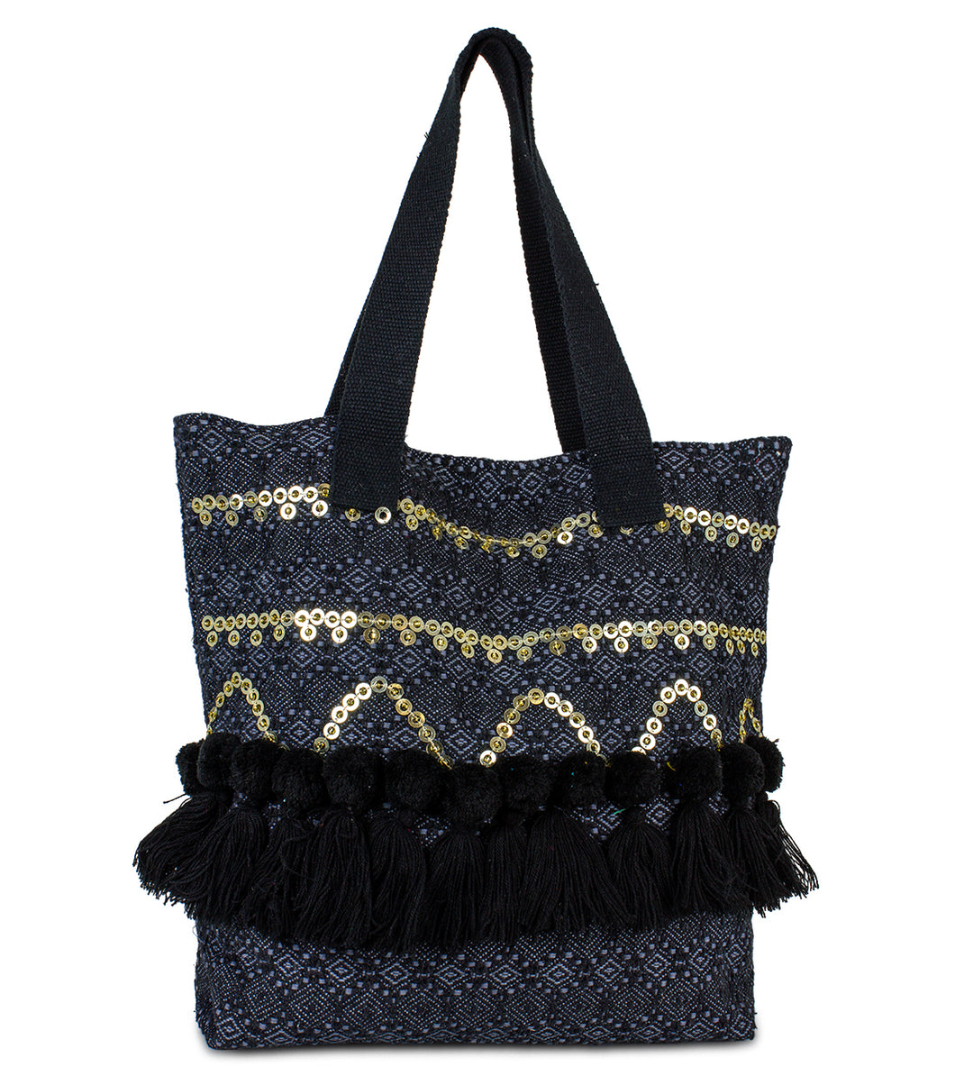 Sequin Canvas Tote with Tassel Trim - Just Jamie