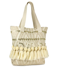 Load image into Gallery viewer, Sequin Canvas Tote with Tassel Trim - Just Jamie