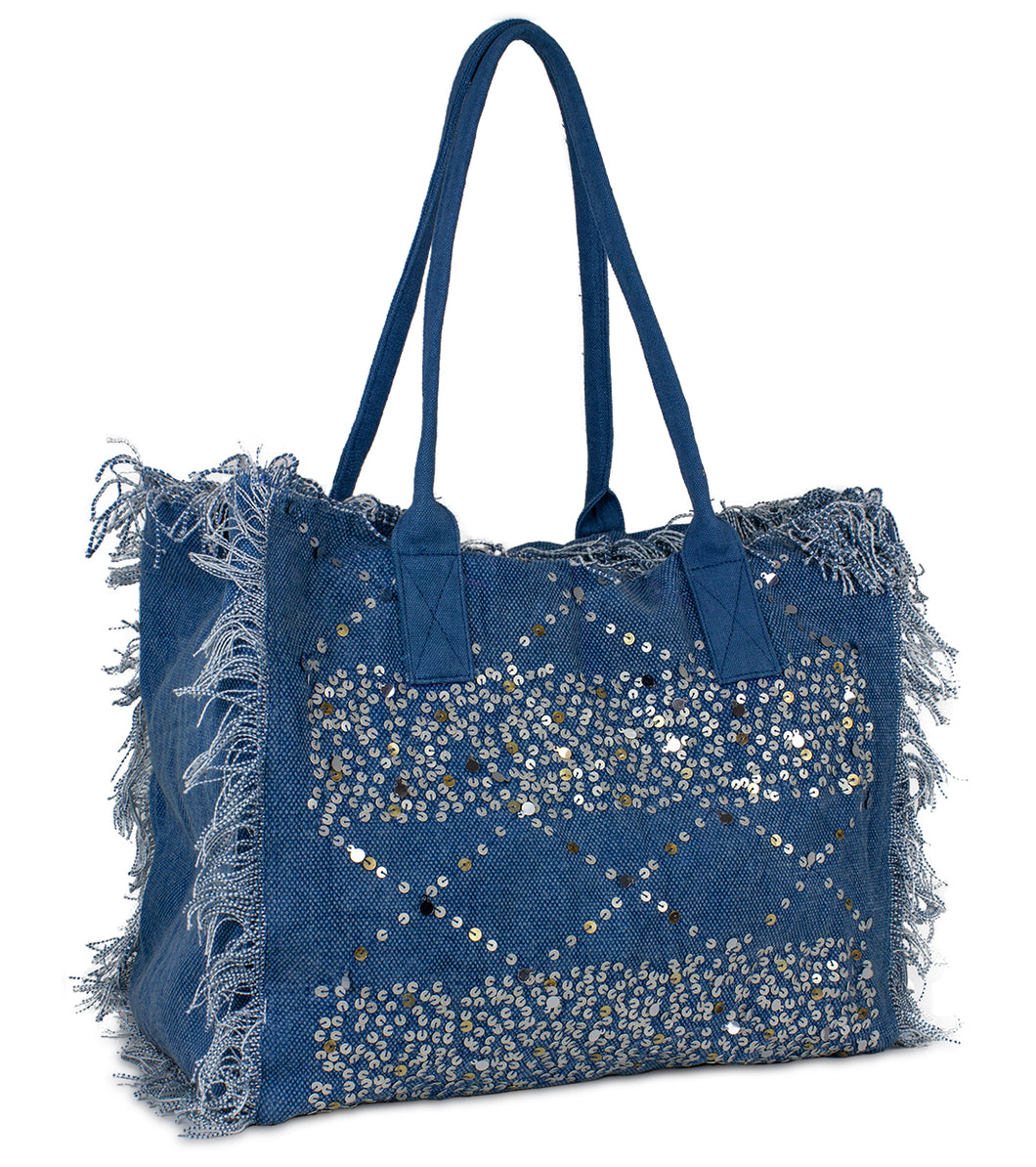 Sequin and Frayed Edge Beach Tote - Just Jamie