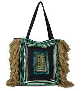 Sequin Canvas Tote with Tassel Ends - Just Jamie