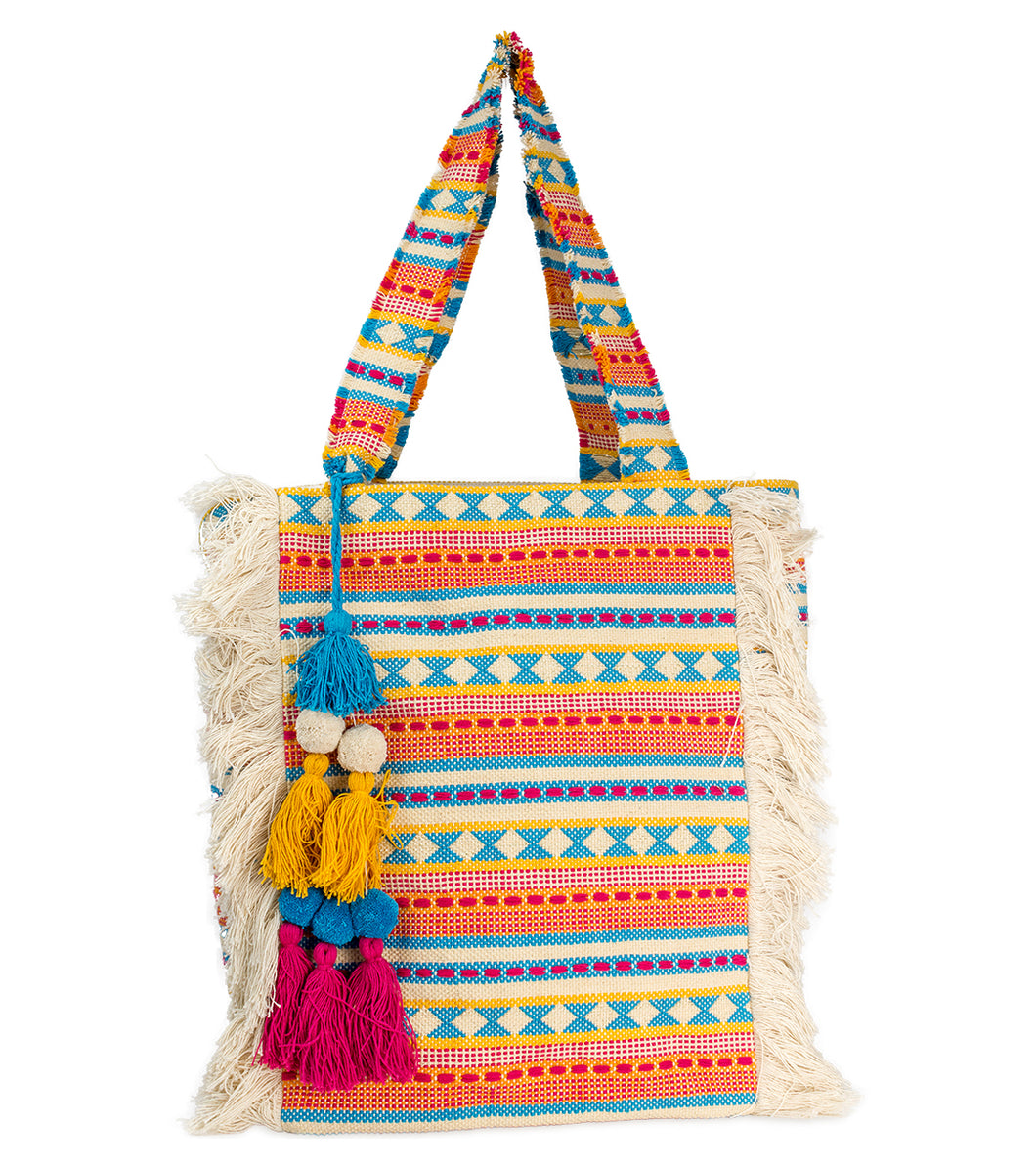 Geometric Aztec Tote with Frayed Vertical Stripe - Just Jamie