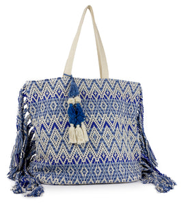 Mutli Stripe Aztec Tote with Tassel Ends - Just Jamie