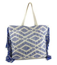 Load image into Gallery viewer, Geometric Diamond Beach Tote Bag with Tassel Sides - Just Jamie