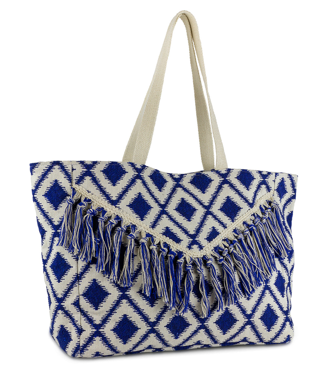 Geometric Diamond Beach Tote with Fringe - Just Jamie