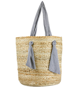 Deep Jute Tote with Striped Fabric Handel - Just Jamie