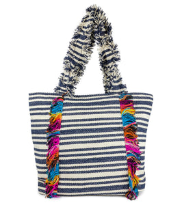 Striped Canvas Tote with Frayed Handle - Just Jamie
