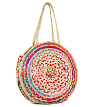 Load image into Gallery viewer, Oversized Circular Multicolor Recycled Jute Bag - Just Jamie