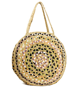 Oversized Circular Multicolor Recycled Jute Bag - Just Jamie